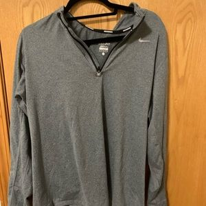 Nike dri fit 1/4 zip up L grey
